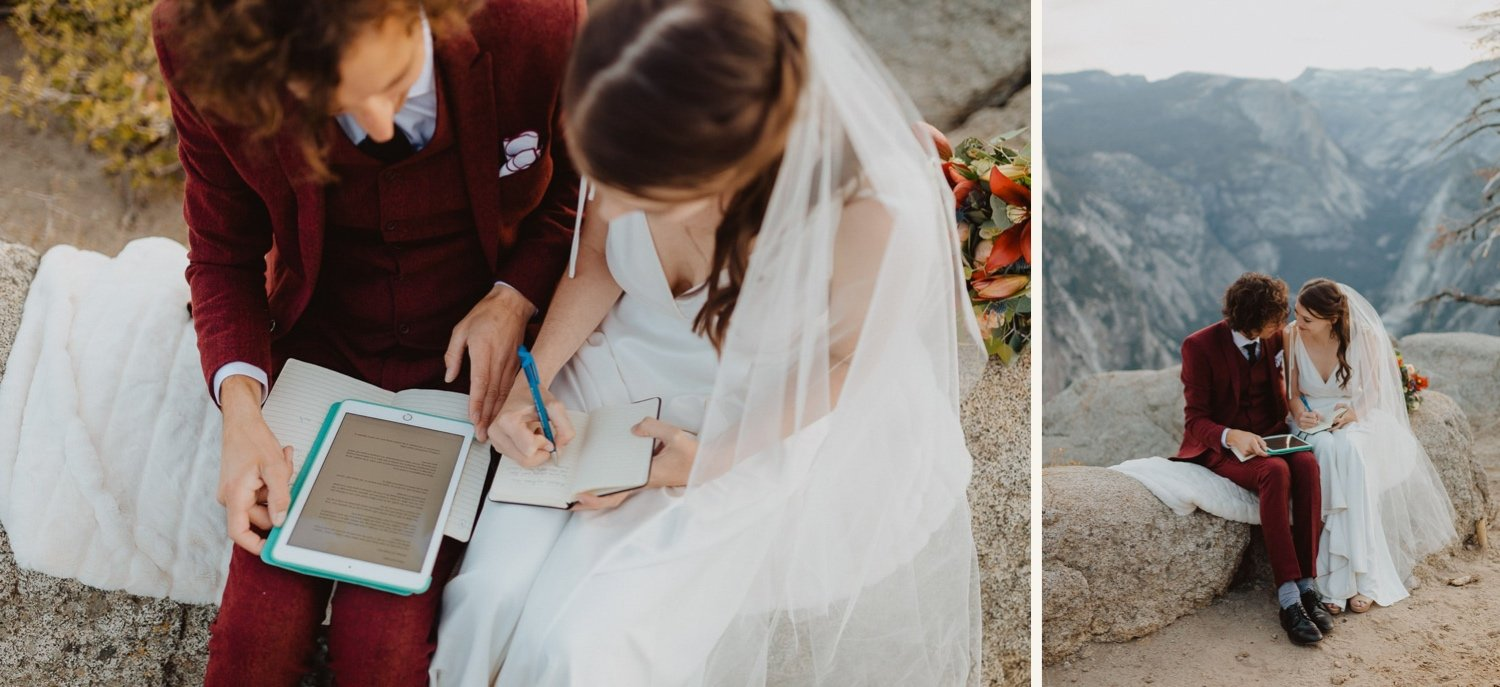 bride and groom learn how to write wedding vows before ceremony