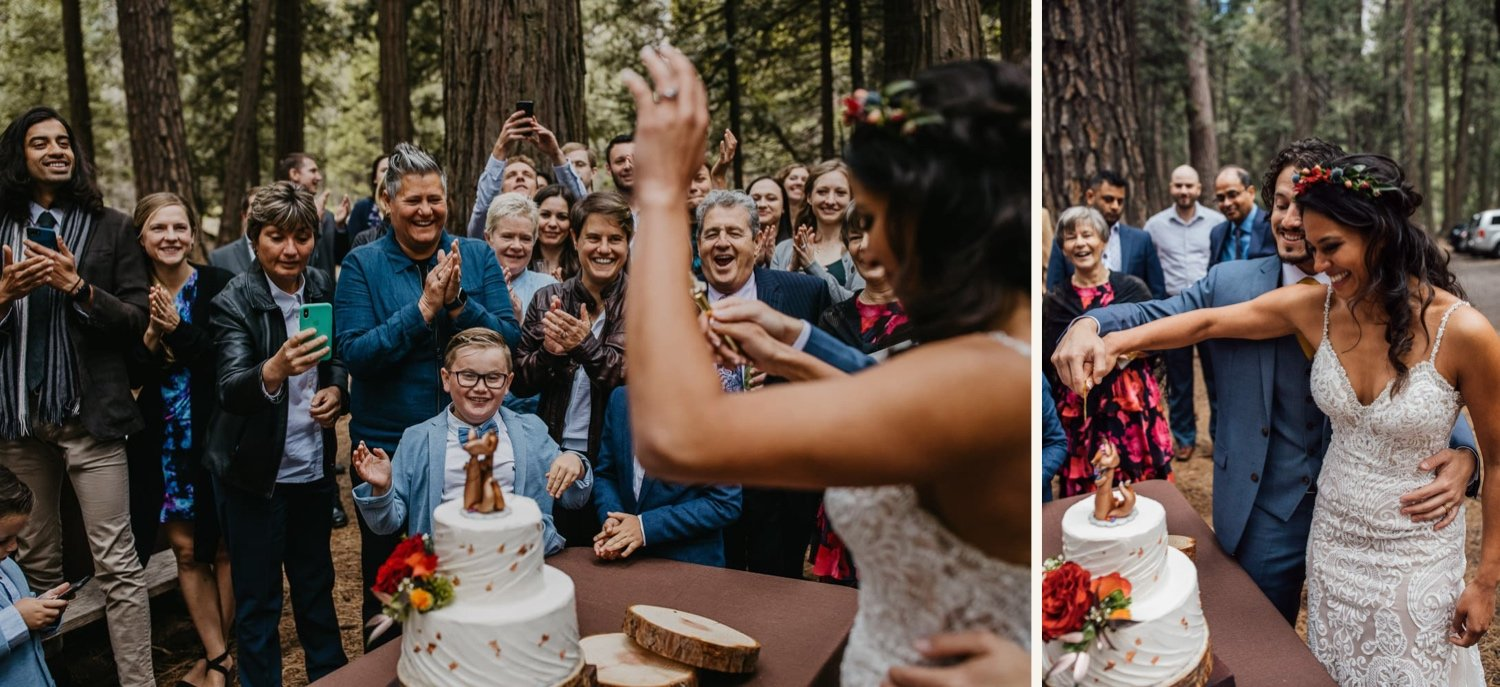 family surrounds bride while cutting cake in forest