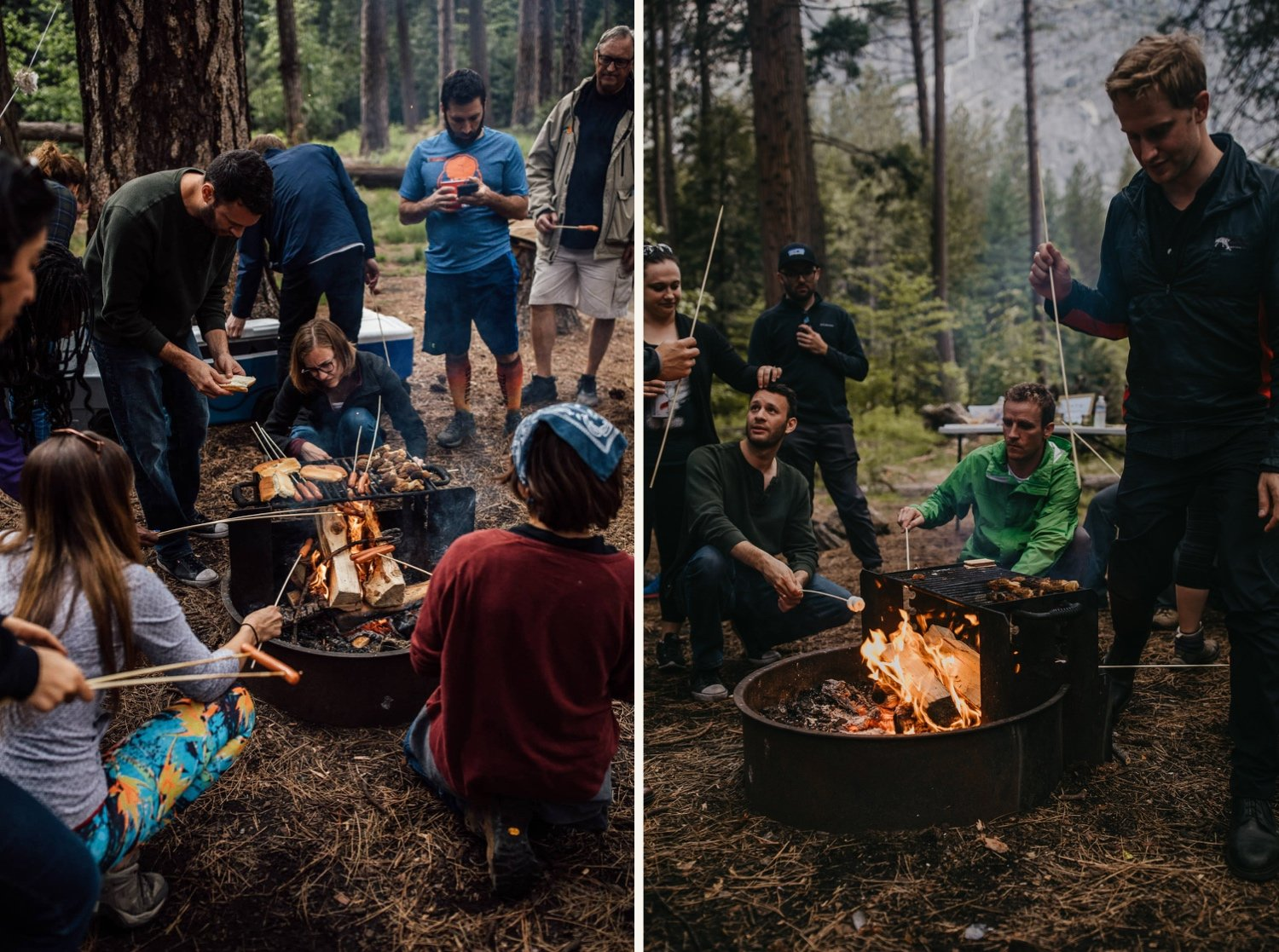 group of friends around campfire in mountain valley