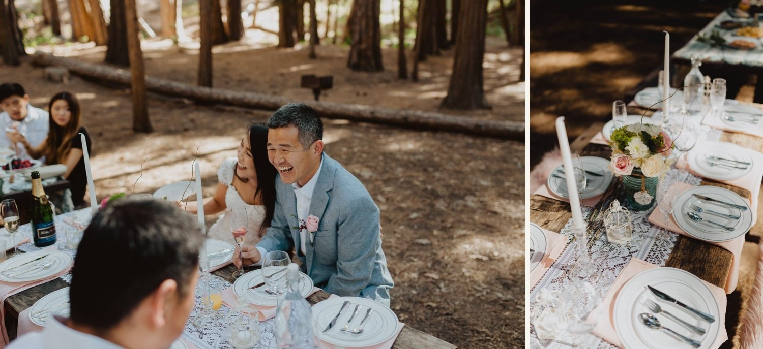 couple celebrating with elopement lunch in forest