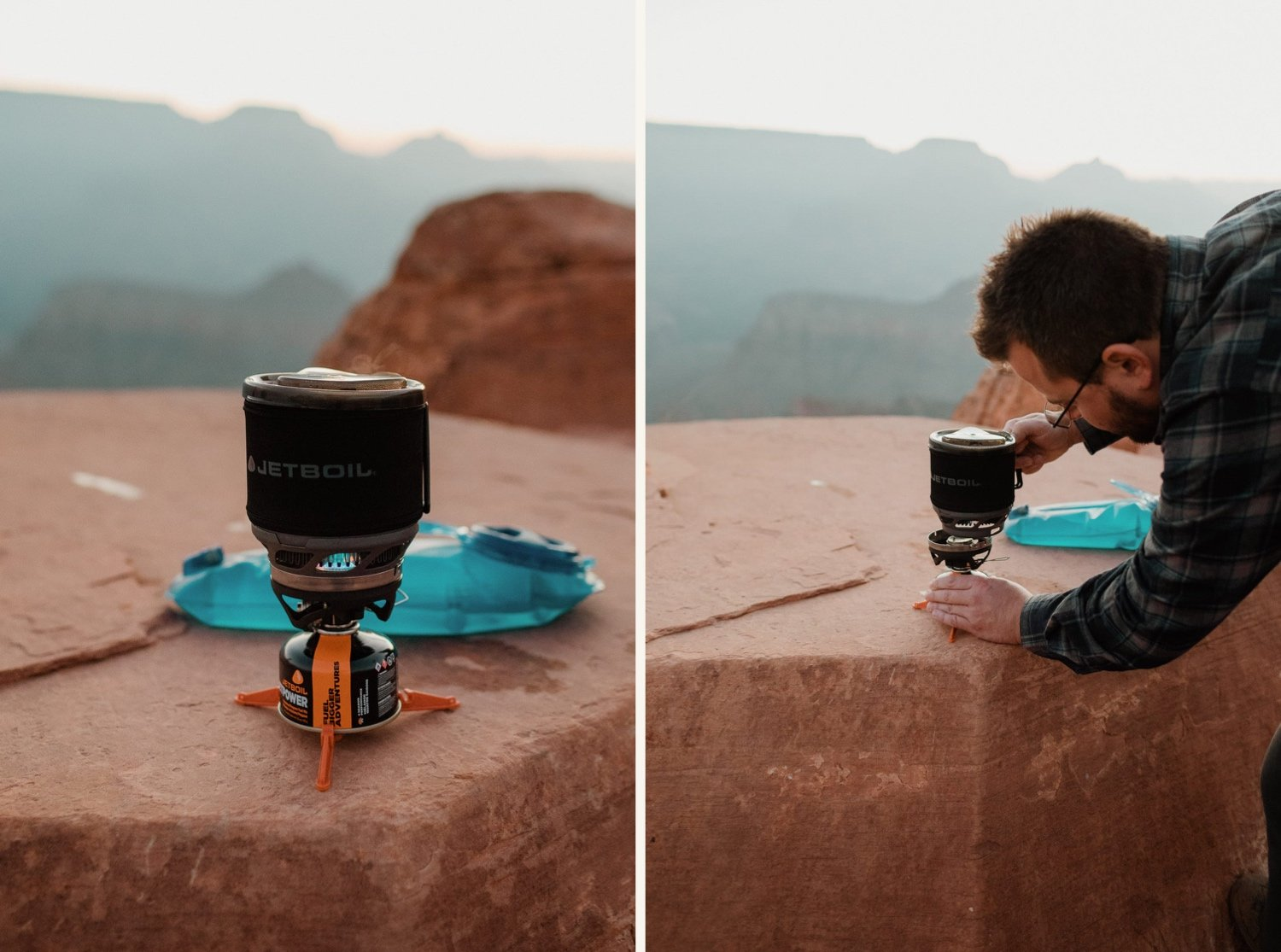 making breakfast with jetboil for sunrise on a day hike