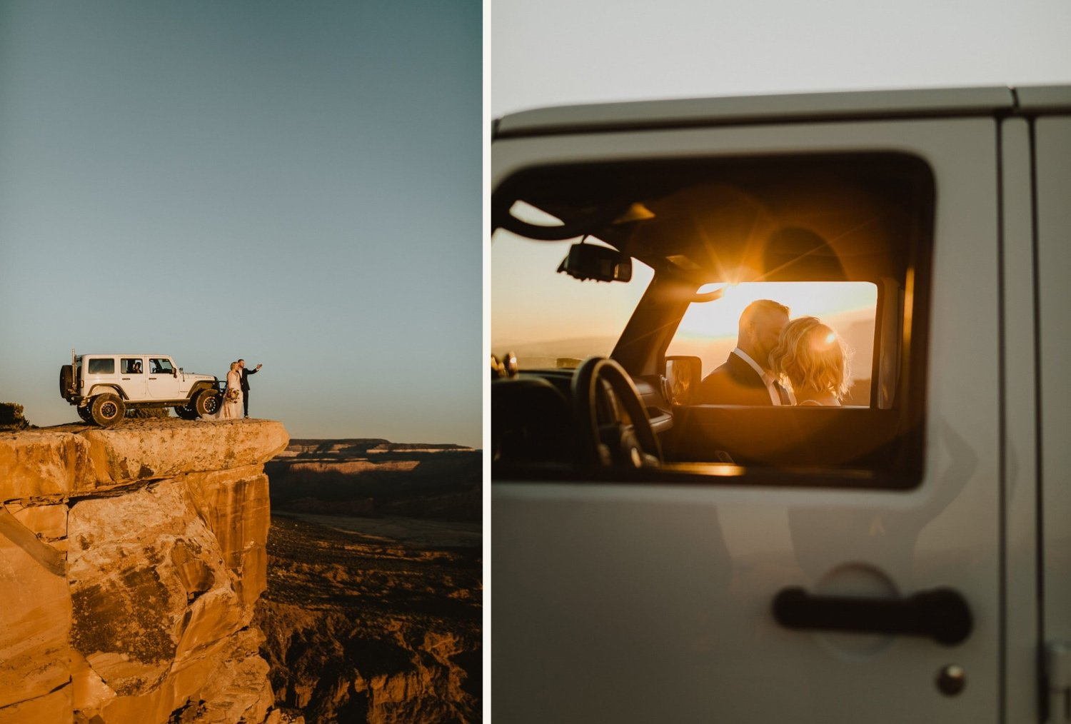 unique jeep elopement idea driving to canyon overlook for sunset