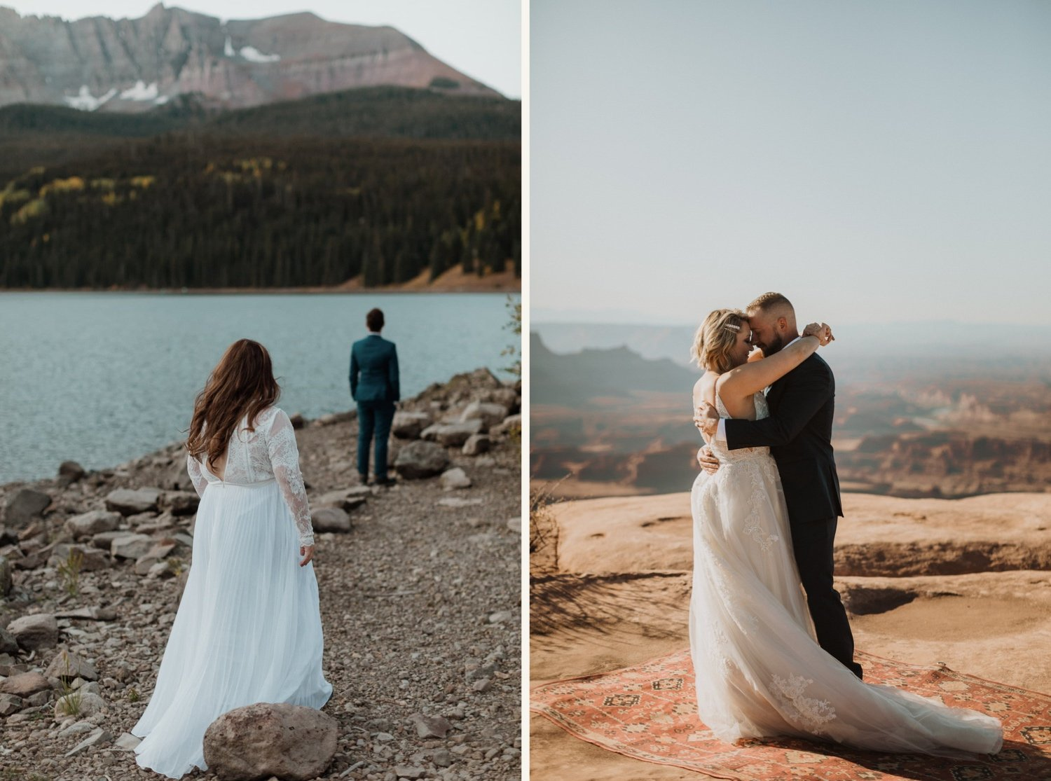 bride and groom have intimate first look