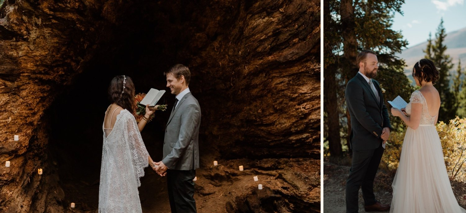 couple reading vows during elopement ceremony in nature