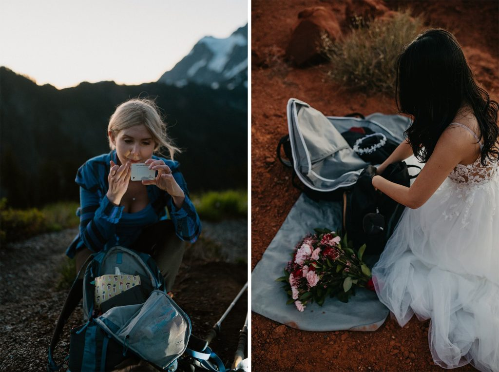 brides putting on makeup before elopement ceremony