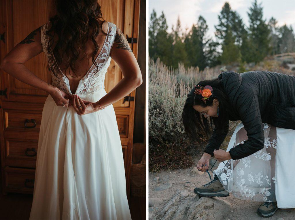 brides putting on their elopement dress