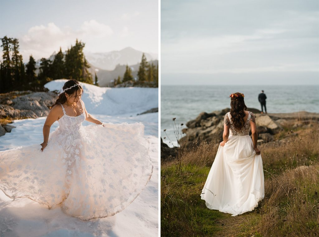 bride twirling elopement dress in the Washington mountains at sunset