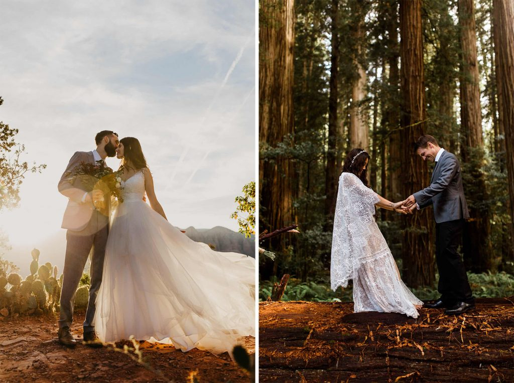 Stylish elopement dress blowing in wind with couples in different landscapes