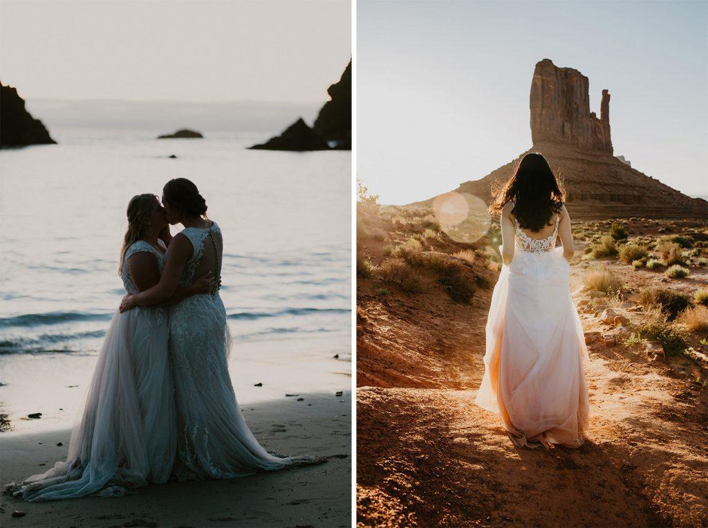 elopement dresses at the beach and desert