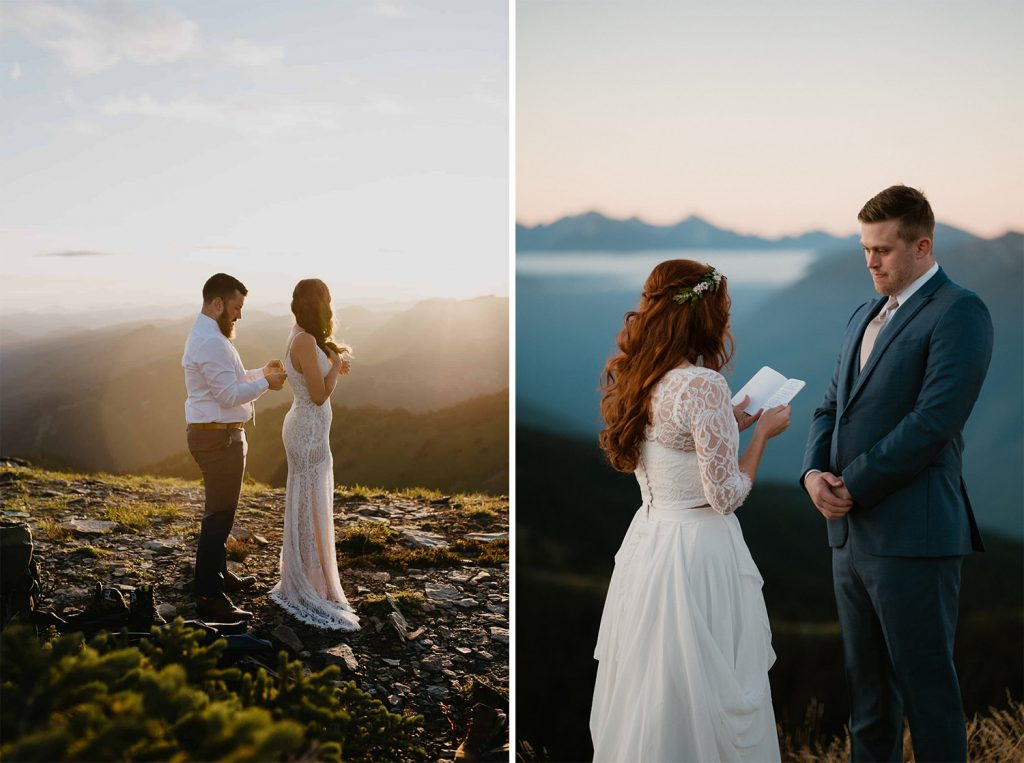 couple exchanging vows in the mountains