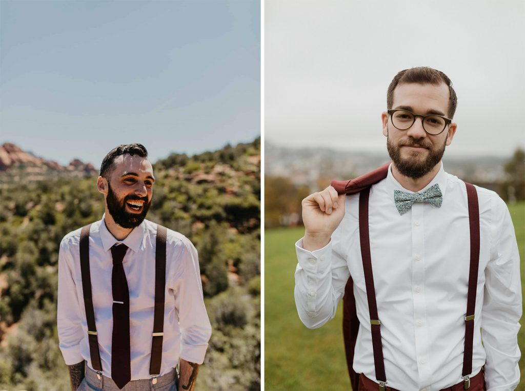 groom wearing suspenders and a bow tie with their elopement suit