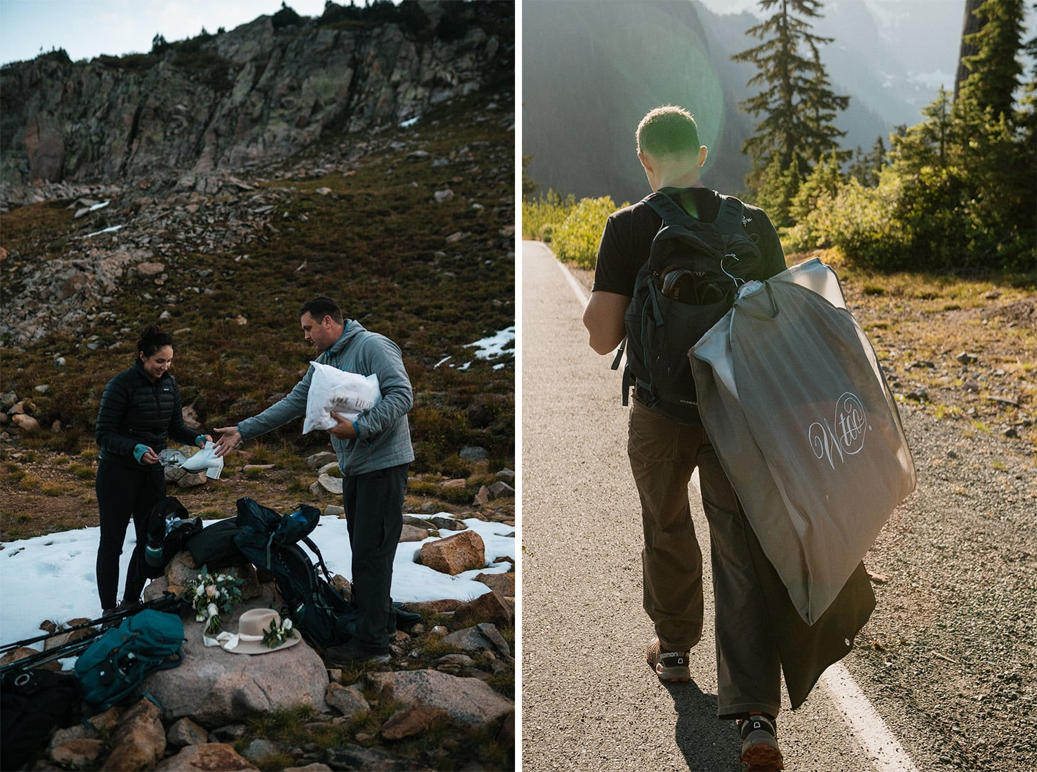 Couple packing elopement suit into backpack