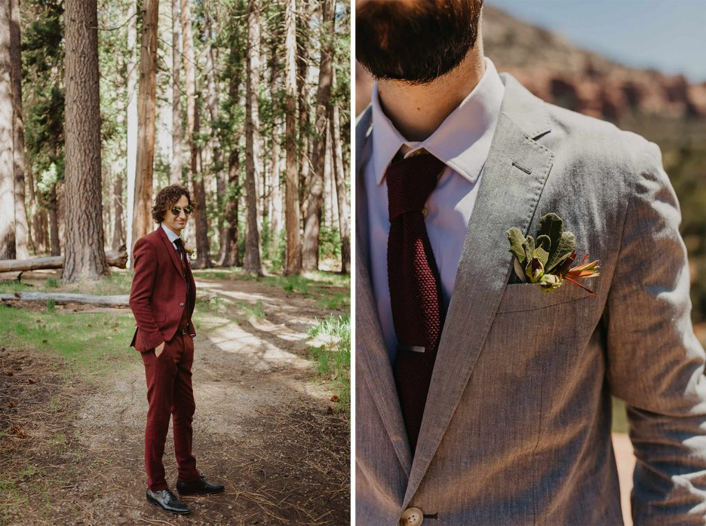Groom in burgundy elopement suit in the forest