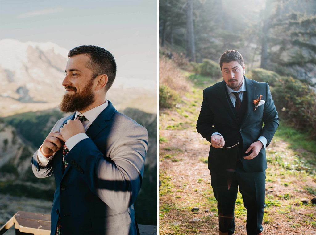 groom adjusting tie in the mountains