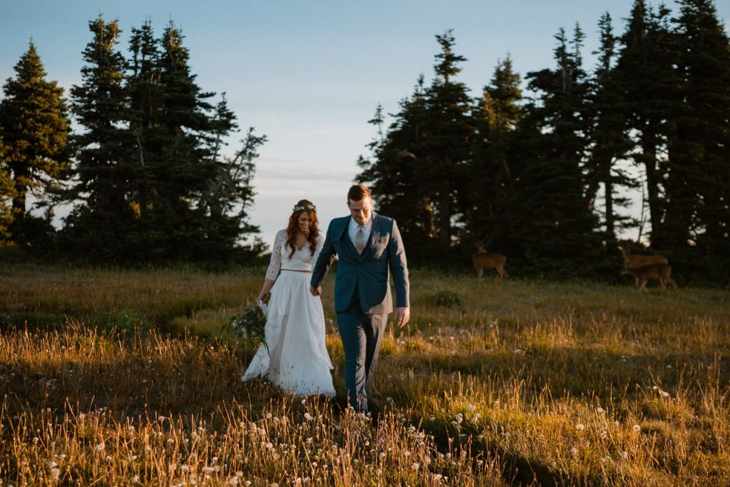 couple eloping in grassy field at sunrise