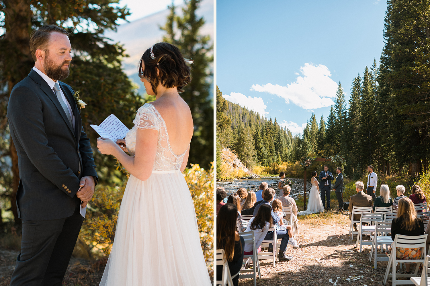 bride and groom for adventure wedding ceremony in Breckenridge, Colorado
