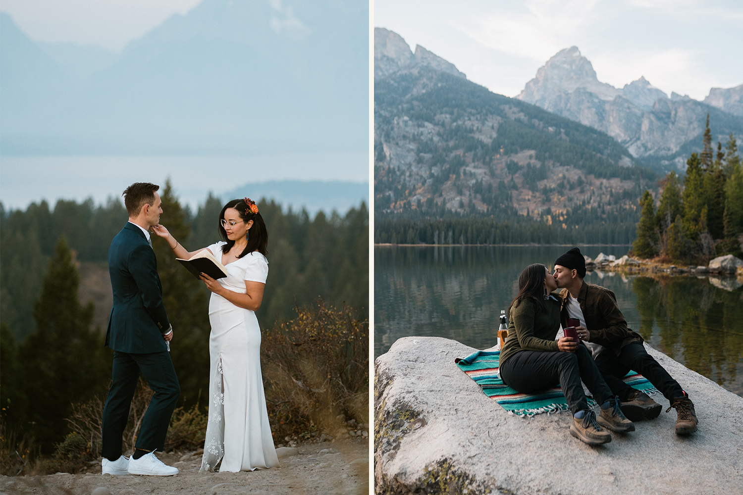 ceremony in the mountains with bride and groom at sunrise