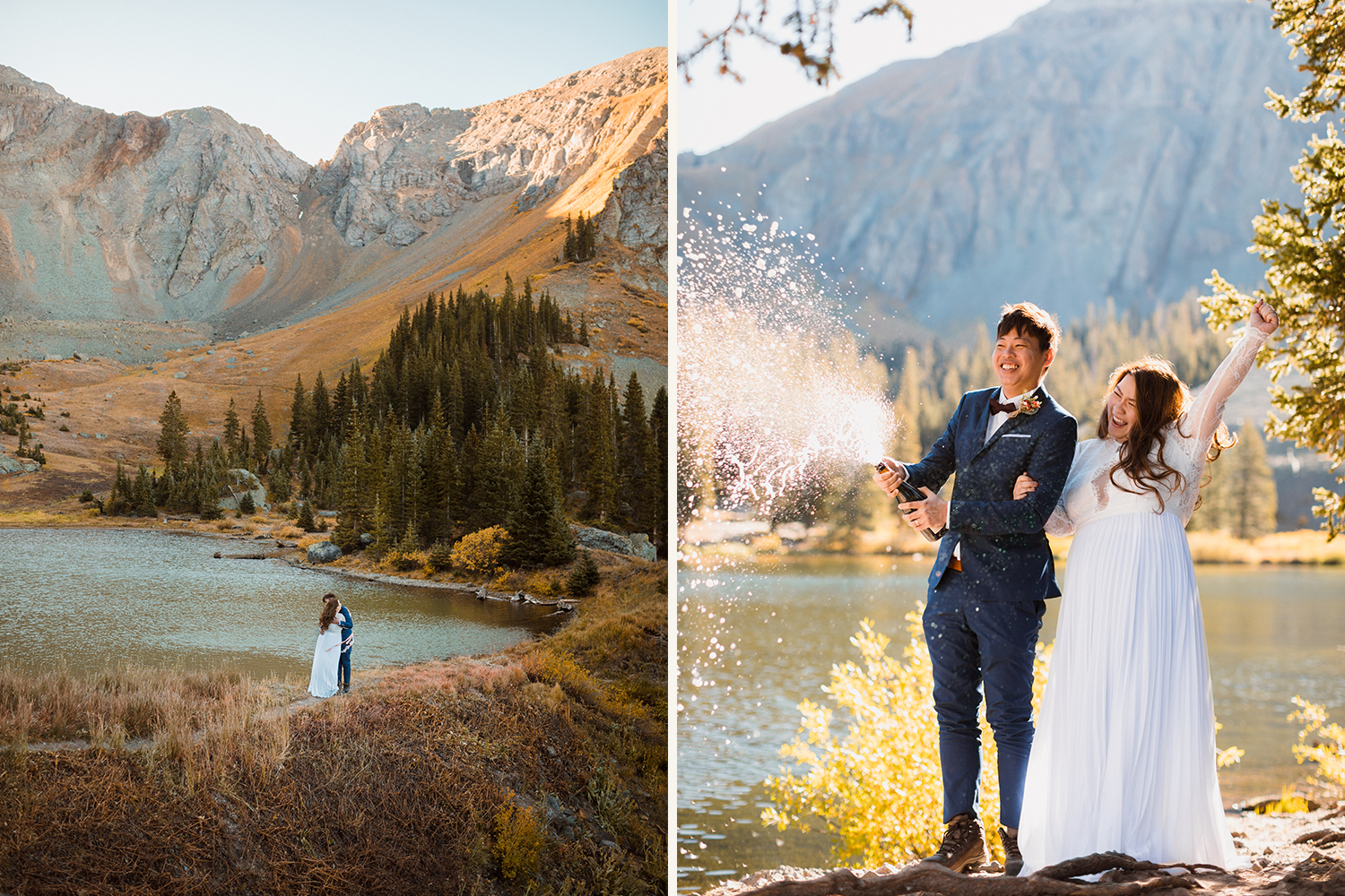 bride and groom on elopement day near an alpine lake in the mountains