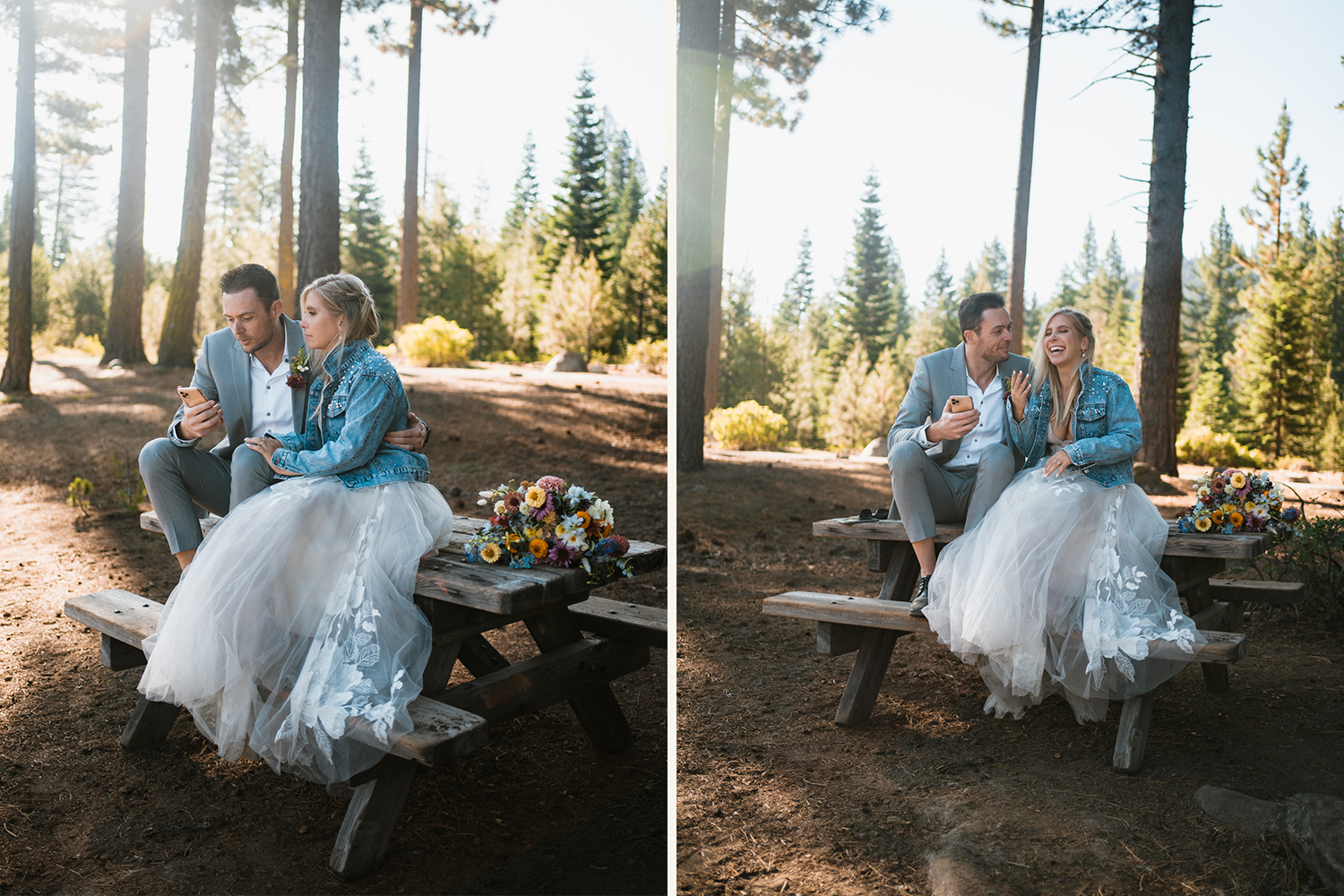 bride and groom reading elopement letters on a picnic bench