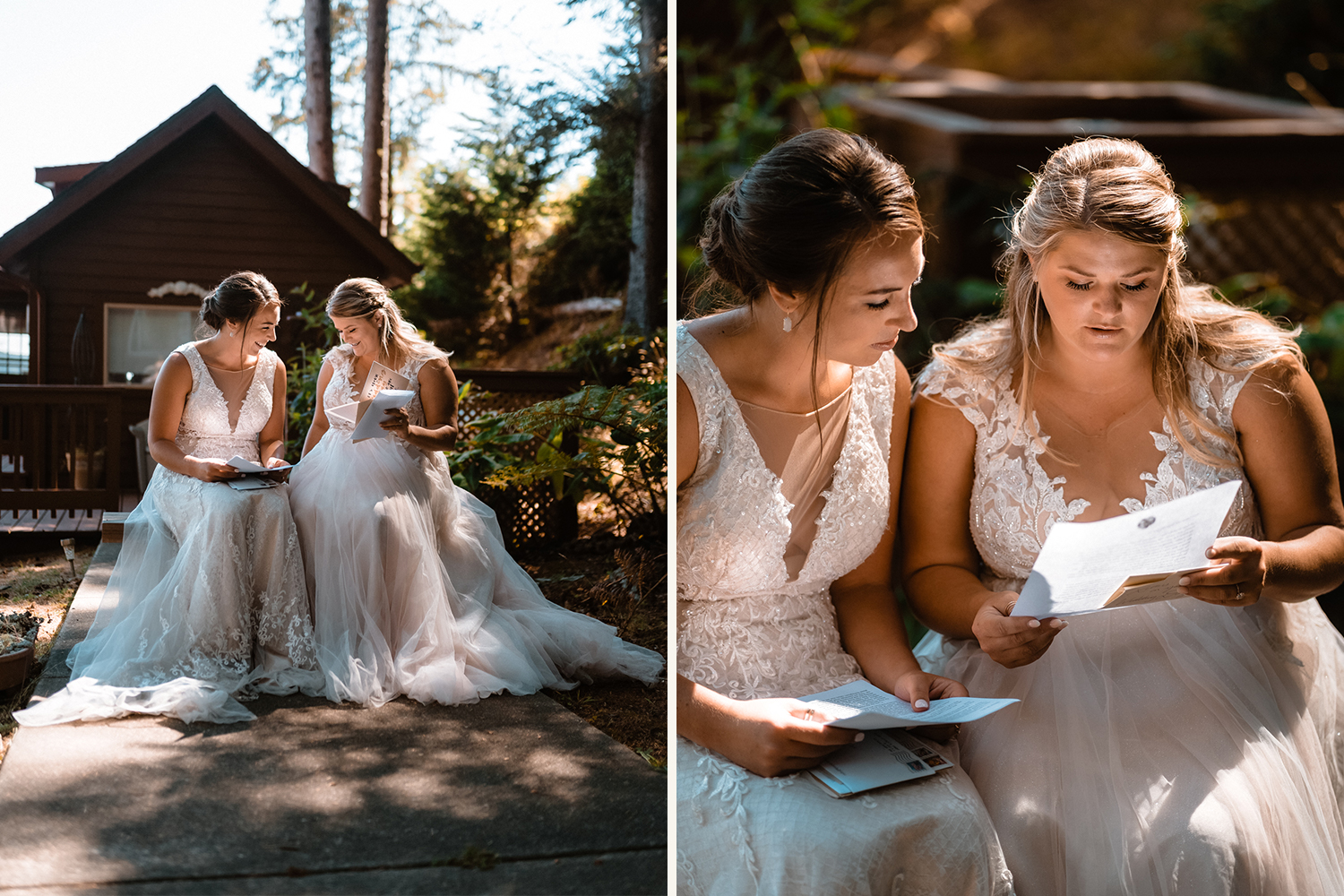 brides reading letters on elopement day